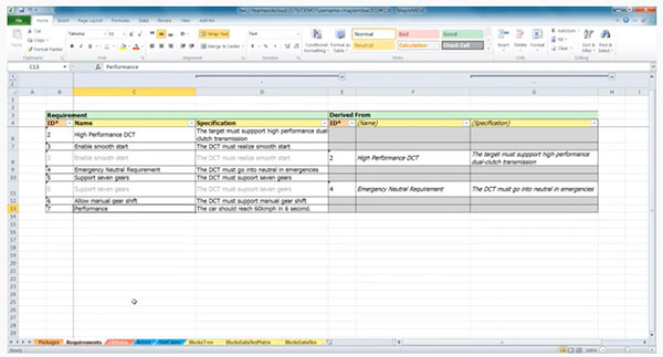 Easy-to-Use Excel-Based UI for Systems Engineering